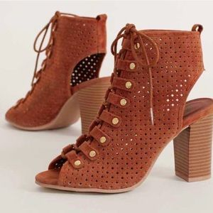 Shoes - Amber lazer cut lace up peep toe booties